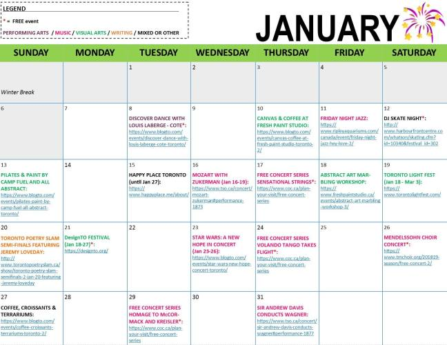 Arts and Letters January Calendar